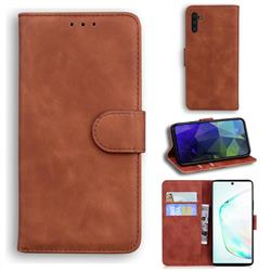 Retro Classic Skin Feel Leather Wallet Phone Case for Samsung Galaxy Note 10 (6.28 inch) / Note10 5G - Brown