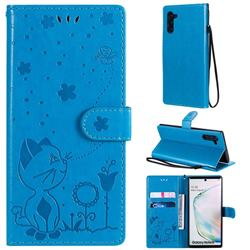 Embossing Bee and Cat Leather Wallet Case for Samsung Galaxy Note 10 (6.28 inch) / Note10 5G - Blue