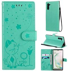 Embossing Bee and Cat Leather Wallet Case for Samsung Galaxy Note 10 (6.28 inch) / Note10 5G - Green