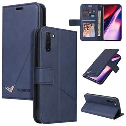 GQ.UTROBE Right Angle Silver Pendant Leather Wallet Phone Case for Samsung Galaxy Note 10 (6.28 inch) / Note10 5G - Blue