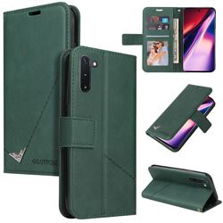 GQ.UTROBE Right Angle Silver Pendant Leather Wallet Phone Case for Samsung Galaxy Note 10 (6.28 inch) / Note10 5G - Green