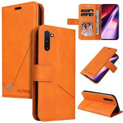 GQ.UTROBE Right Angle Silver Pendant Leather Wallet Phone Case for Samsung Galaxy Note 10 (6.28 inch) / Note10 5G - Orange