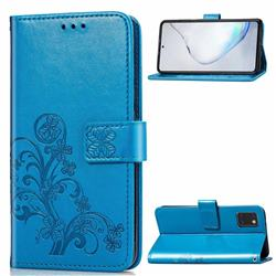 Embossing Imprint Four-Leaf Clover Leather Wallet Case for Samsung Galaxy Note 10 Lite - Blue