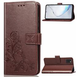 Embossing Imprint Four-Leaf Clover Leather Wallet Case for Samsung Galaxy Note 10 Lite - Brown