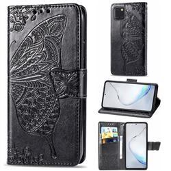 Embossing Mandala Flower Butterfly Leather Wallet Case for Samsung Galaxy Note 10 Lite - Black