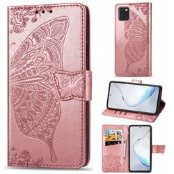 Embossing Mandala Flower Butterfly Leather Wallet Case for Samsung Galaxy Note 10 Lite - Rose Gold