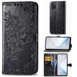 Embossing Imprint Mandala Flower Leather Wallet Case for Samsung Galaxy Note 10 Lite - Black