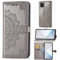 Embossing Imprint Mandala Flower Leather Wallet Case for Samsung Galaxy Note 10 Lite - Gray