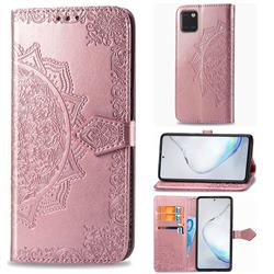 Embossing Imprint Mandala Flower Leather Wallet Case for Samsung Galaxy Note 10 Lite - Rose Gold