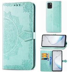 Embossing Imprint Mandala Flower Leather Wallet Case for Samsung Galaxy Note 10 Lite - Green