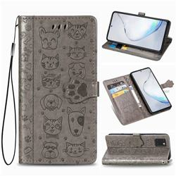 Embossing Dog Paw Kitten and Puppy Leather Wallet Case for Samsung Galaxy Note 10 Lite - Gray