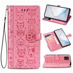 Embossing Dog Paw Kitten and Puppy Leather Wallet Case for Samsung Galaxy Note 10 Lite - Pink