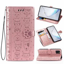 Embossing Dog Paw Kitten and Puppy Leather Wallet Case for Samsung Galaxy Note 10 Lite - Rose Gold