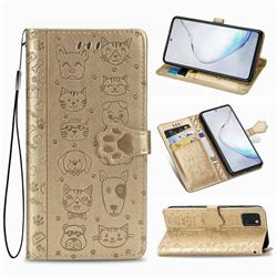 Embossing Dog Paw Kitten and Puppy Leather Wallet Case for Samsung Galaxy Note 10 Lite - Champagne Gold