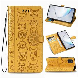 Embossing Dog Paw Kitten and Puppy Leather Wallet Case for Samsung Galaxy Note 10 Lite - Yellow