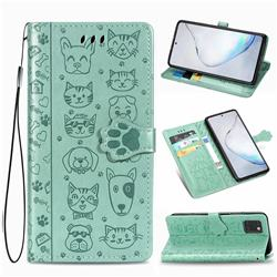 Embossing Dog Paw Kitten and Puppy Leather Wallet Case for Samsung Galaxy Note 10 Lite - Green