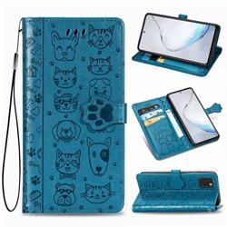 Embossing Dog Paw Kitten and Puppy Leather Wallet Case for Samsung Galaxy Note 10 Lite - Blue