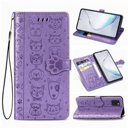Embossing Dog Paw Kitten and Puppy Leather Wallet Case for Samsung Galaxy Note 10 Lite - Purple