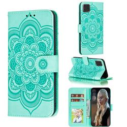 Intricate Embossing Datura Solar Leather Wallet Case for Samsung Galaxy Note 10 Lite - Green