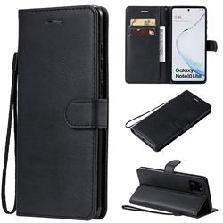 Retro Greek Classic Smooth PU Leather Wallet Phone Case for Samsung Galaxy Note 10 Lite - Black