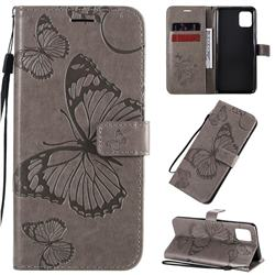 Embossing 3D Butterfly Leather Wallet Case for Samsung Galaxy Note 10 Lite - Gray