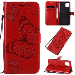 Embossing 3D Butterfly Leather Wallet Case for Samsung Galaxy Note 10 Lite - Red