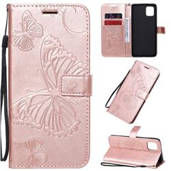 Embossing 3D Butterfly Leather Wallet Case for Samsung Galaxy Note 10 Lite - Rose Gold