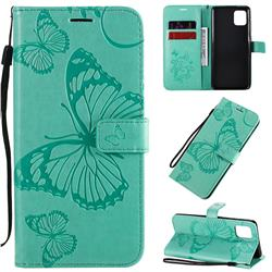 Embossing 3D Butterfly Leather Wallet Case for Samsung Galaxy Note 10 Lite - Green