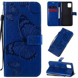 Embossing 3D Butterfly Leather Wallet Case for Samsung Galaxy Note 10 Lite - Blue