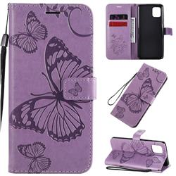 Embossing 3D Butterfly Leather Wallet Case for Samsung Galaxy Note 10 Lite - Purple