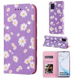 Ultra Slim Daisy Sparkle Glitter Powder Magnetic Leather Wallet Case for Samsung Galaxy Note 10 Lite - Purple