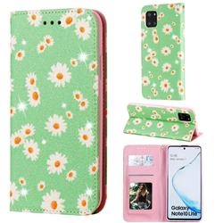 Ultra Slim Daisy Sparkle Glitter Powder Magnetic Leather Wallet Case for Samsung Galaxy Note 10 Lite - Green