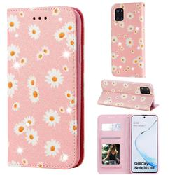 Ultra Slim Daisy Sparkle Glitter Powder Magnetic Leather Wallet Case for Samsung Galaxy Note 10 Lite - Pink