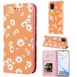 Ultra Slim Daisy Sparkle Glitter Powder Magnetic Leather Wallet Case for Samsung Galaxy Note 10 Lite - Orange