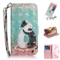 Black and White Cat 3D Painted Leather Wallet Phone Case for Samsung Galaxy Note 10 Lite