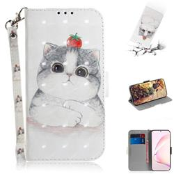 Cute Tomato Cat 3D Painted Leather Wallet Phone Case for Samsung Galaxy Note 10 Lite