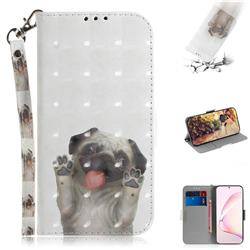 Pug Dog 3D Painted Leather Wallet Phone Case for Samsung Galaxy Note 10 Lite