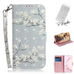 Magnolia Flower 3D Painted Leather Wallet Phone Case for Samsung Galaxy Note 10 Lite