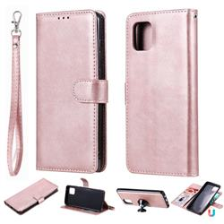 Retro Greek Detachable Magnetic PU Leather Wallet Phone Case for Samsung Galaxy Note 10 Lite - Rose Gold