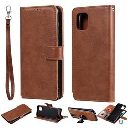 Retro Greek Detachable Magnetic PU Leather Wallet Phone Case for Samsung Galaxy Note 10 Lite - Brown