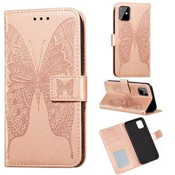 Intricate Embossing Vivid Butterfly Leather Wallet Case for Samsung Galaxy Note 10 Lite - Rose Gold
