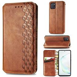 Ultra Slim Fashion Business Card Magnetic Automatic Suction Leather Flip Cover for Samsung Galaxy Note 10 Lite - Brown