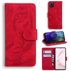 Intricate Embossing Tiger Face Leather Wallet Case for Samsung Galaxy Note 10 Lite - Red