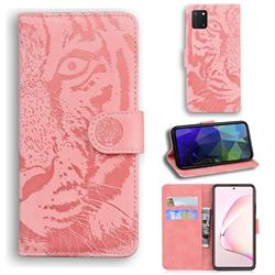 Intricate Embossing Tiger Face Leather Wallet Case for Samsung Galaxy Note 10 Lite - Pink
