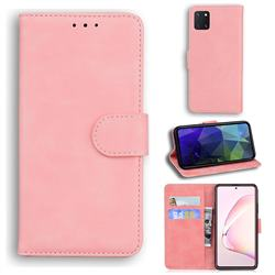 Retro Classic Skin Feel Leather Wallet Phone Case for Samsung Galaxy Note 10 Lite - Pink