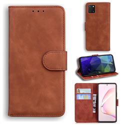 Retro Classic Skin Feel Leather Wallet Phone Case for Samsung Galaxy Note 10 Lite - Brown