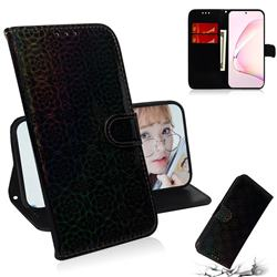 Laser Circle Shining Leather Wallet Phone Case for Samsung Galaxy Note 10 Lite - Black