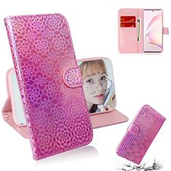 Laser Circle Shining Leather Wallet Phone Case for Samsung Galaxy Note 10 Lite - Pink