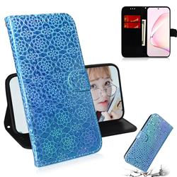 Laser Circle Shining Leather Wallet Phone Case for Samsung Galaxy Note 10 Lite - Blue