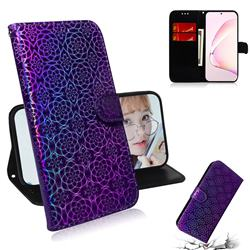Laser Circle Shining Leather Wallet Phone Case for Samsung Galaxy Note 10 Lite - Purple
